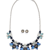 Rhinestone Statement Necklace and Earring Set
