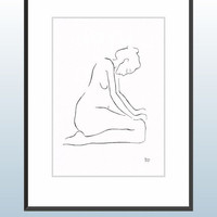 Black and white line art drawing of a female nude figure.