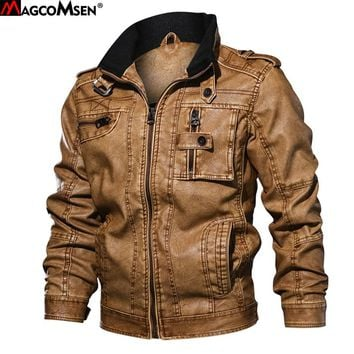 f9b47a5dcdf5 MAGCOMSEN Leather Jacket Men 2018 Autumn New Brand Windproof Leather Coats  Causal motorcycle Vintage PU Leather