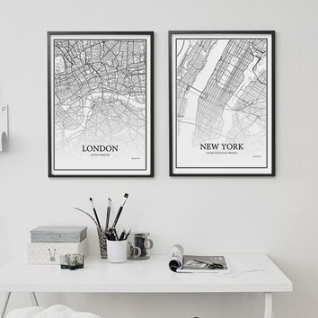 900D Posters And Prints Wall Art Canvas Painting Wall Pictures For Living Room Decoration City Grid Map