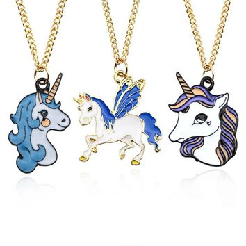 Womens Cute Colorful Enamel Cartoon Unicorn Horse Pony Pendant Charm Chain Necklaces