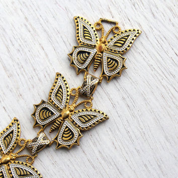 Vintage Damascene Butterfly Bracelet - Retro Gold & Silver Plated Insect Panel Jewelry / Rustic Wings
