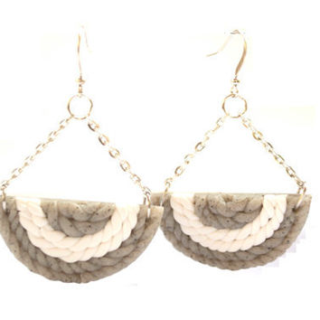 Handmade Polymer Clay Dangle Earrings. Gray and White Earrings. Polymer Clay Knitting