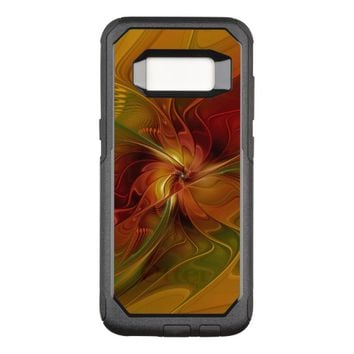Abstract Red Orange Brown Green Fractal Art Flower OtterBox Commuter Samsung Galaxy S8 Case