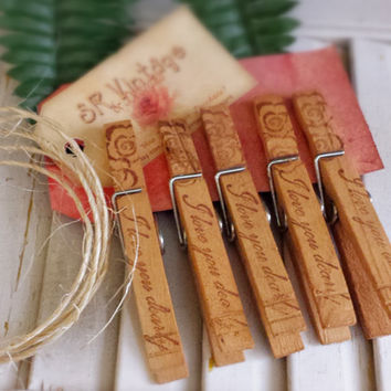 Set of 5 Clothespins,  Vintage Inspired, Tea Stained, Frig Magnets, Photo Clothesline, Wedding Place Card, Vintage Gift Tag, Love Stamped