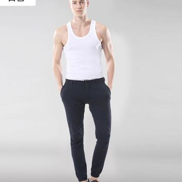 XG Solid color men's cotton vest men's tight sports fitness bottom sweat vest men's cotton vest cotton