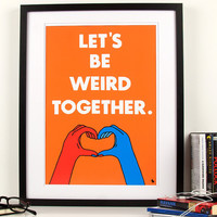 Orange typography love quote poster heart hands pop art by kyd13