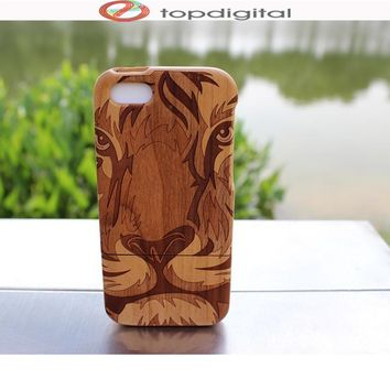 Felidio for iPhone SE Case Natural Bamboo Wooden Case for iPhone 5c 5 5s Case Cover Phone Hard Protective Shell Handmade Carving