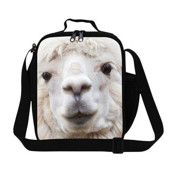 Portable multifunctional insulation cooler bags cute alpaca lunch bags with pocket for kids school meal bag lunchbox