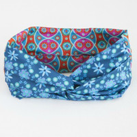 TURBAN HEADBAND BLUE FLOWERS