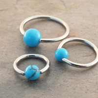 18 Gauge Turquoise Stone CBR Cartilage Hoop Earring Tragus Helix Conch