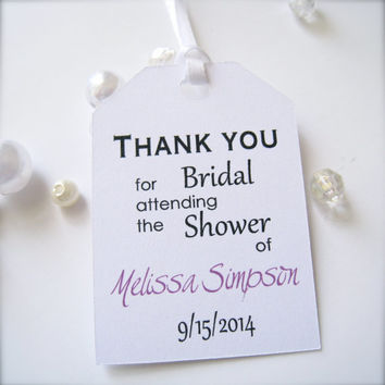 Bridal shower favor tags,party favor tags, thank you tags - 30 count