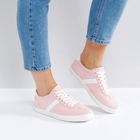 ASOS DELPHINE Wide Fit Stripe Lace Up Sneakers at asos.com