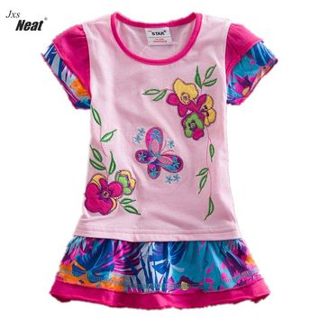 NEAT New baby girl clothes college style girls dresses embroidered wave points stripe bow kids clothes short sleeve dress S66303