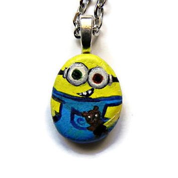 "MINION Necklace BOB Pendant Hand Painted Stone Rock Necklace Silver  24"" Ball Chain Original"