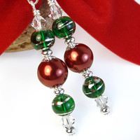 Christmas Earrings, Red Pearls Green Glass Swarovski Crystals Handmade
