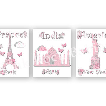 Baby girl nursery artwork letterpress prints travel nursery baby girl wall art kids room decor playroom decoration paris eiffel tower