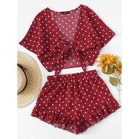 Polka Dot Knot Front Top And Ruffle Hem Shorts Set
