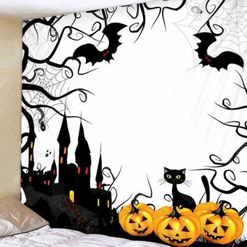 Halloween Castle Bats Print Tapestry Wall Hanging Decoration - White