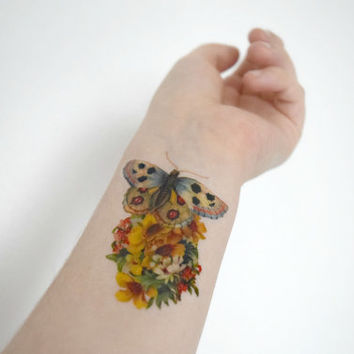 Vintage Butterfly and Flower temporary tattoo - Ink, Spring, Fall, Colourful, Tattoo, Woodland, Accessories