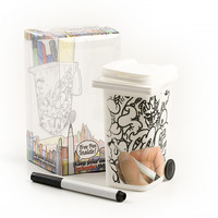 "Dry Erase Wheelie Bin Pencil Holder, 3.25"" x 3"" x 5.75"""