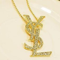 YSL shining rhinestone necklace