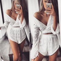 V-neck sexy lace lace long sleeve two-piece outfit
