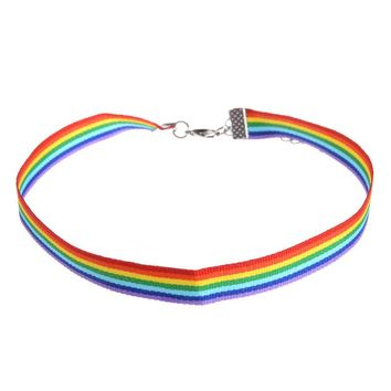 Men Women Gay Pride Rainbow Choker Necklace LGBT Gay and Lesbian Pride Lace Chocker Ribbon Collar with Pendant Jewelry