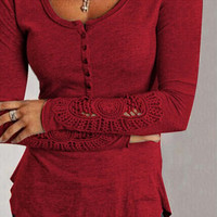Fashion Lace Round Neck T-Shirt-1