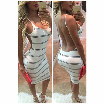 SIMPLE - Women Striped Design Sexy Backless Nightclub One Piece Dress a11003