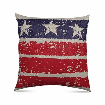 "Stratford Home 18""x18"" Limited Edition Americana Indoor Decorative Throw Pillow (Rustic Stars Flag)"