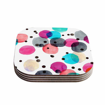 "Crystal Walen ""Festive Watercolor Dots "" Pink Black Coasters (Set of 4)"