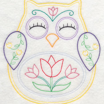 Owl with Tulips Vintage Styled EMBROIDERED Women's Apron Great Mother's Day Gift