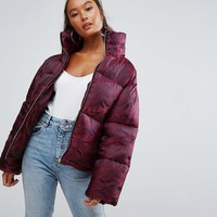 ASOS Puffer Coat in Camo at asos.com
