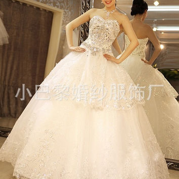 Bridal new bride wedding diamond bra skirt highlights bandage tail wedding wedding dress = 1930307588