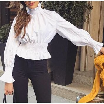 White Ruffle High Neck Elastic Tunic Long Sleeve Blouse