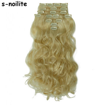 Any Colors Long Curly Wavy 8PIECE/SET Real Thick 180g Clip in Full Head Hair Extensions Extentions human Synthetic Hair Style