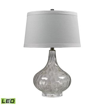 D147-LED Clear Water Glass LED Table Lamp With White Linen Shade - Free Shipping!