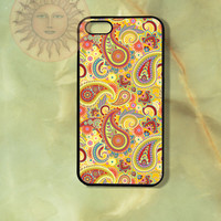 Colorful Paisley in Yellow Background iPhone 6, 6 plus,5, 5s, 5c, 4s, 4, ipod 4, 5, Samsung GS3, GS4 Silicone Rubber Hard Plastic Case cover