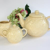 Bordallo Pinhiero Tea Pot with Cream and Sugar Set