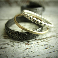 Antique Modern & Gold Silver 3 Stacking Ring Set w by palefishny