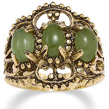 Palm Beach Jewelry 14k Gold - Plated Antiqued Jade Ring