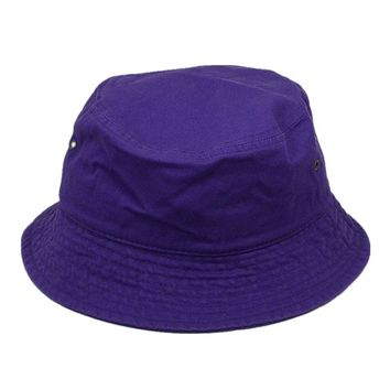Men Women 100% Cotton Fishing BUCKET HAT CAP Boonie Brim visor Sun Safari PURPLE
