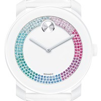 Women's Movado 'Bold' Crystal Dial Patent Strap Watch, 42mm - White