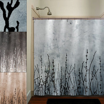 Willow Twigs Tree Branch Grass Sticks Shower Curtain Bathroom Decor Fabric Kids Bath White Black Custom