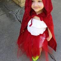 Red cloak, Kids costume, Custom made outfit, Kids Cosplay, Medieval Cloak, little red riding hood fairytale, Toddler cloak, Halloween outfit