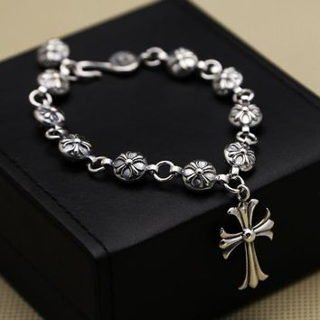 S925 Sterling Silver Cross Ball Round Bracelet men's Korean Fashion Jewelry Retro Thai Silver