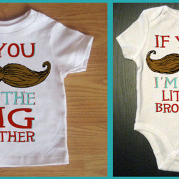 Funny 2 pack Mustache Shirt & Onesuit -  Big Brother and Little Brother - Funny Saying Mustache Shirt - Baby and Toddler Children's Clothing