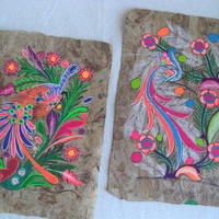 Set of two Mexican bark paintings/ vintage folk art paintings/ neon birds and flowers paintings on bark paper/ ethnic tribal bohemian decor