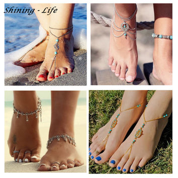 Vintage Summer Turquoise Beads Anklet Chic Foot Chain Ankle Bracelet Charm